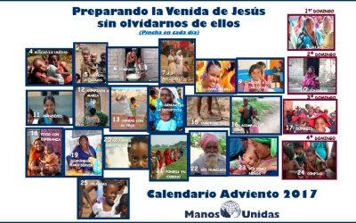 La Iglesia ante el Hambre en el mundo y calendario de Adviento de Manos Unidas