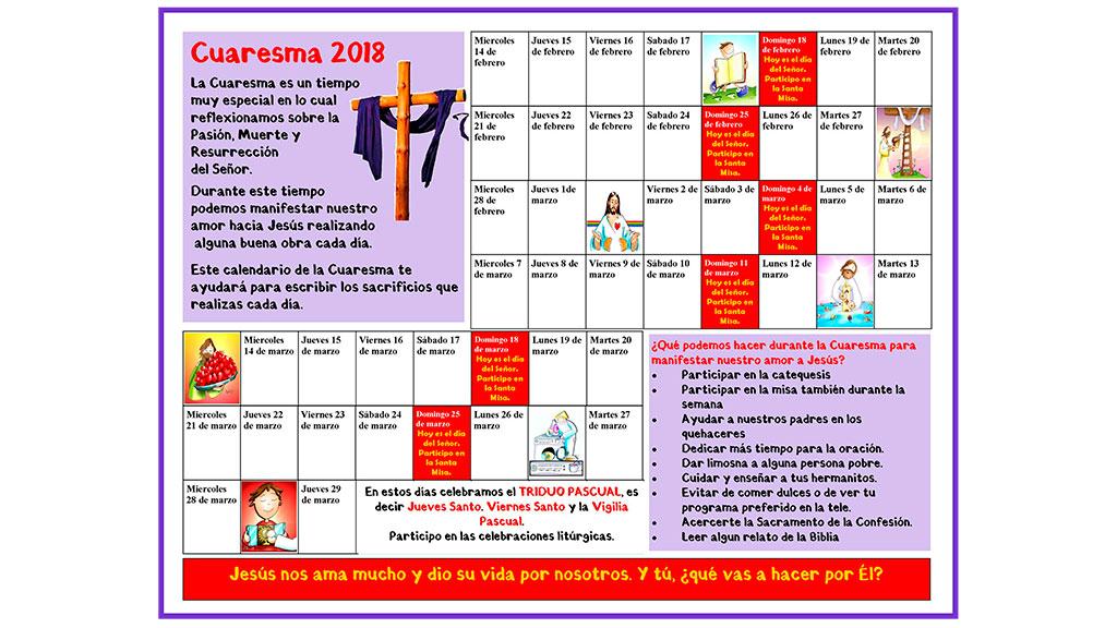Calendario para la Cuaresma